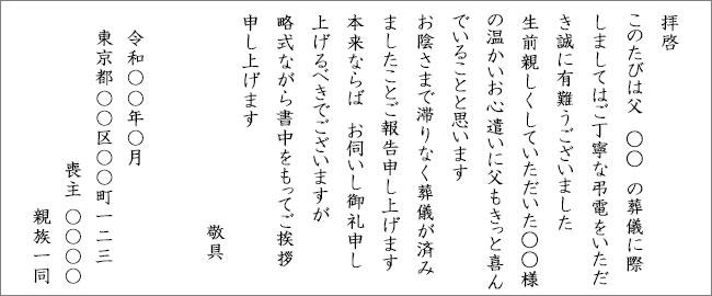 弔電のお礼の書き方(例文)